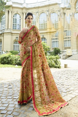 Beige Brasso Saree with Blouse