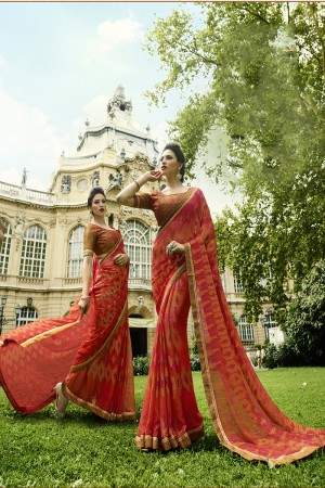 Tometo Red Brasso Saree with Blouse