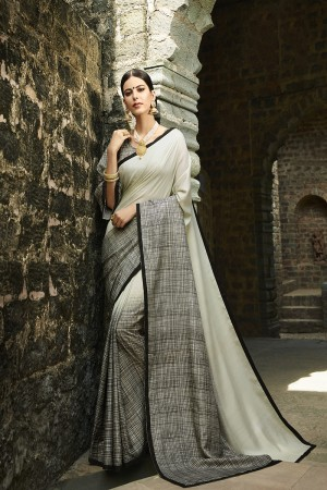 Grey Cotton Saree with Blouse
