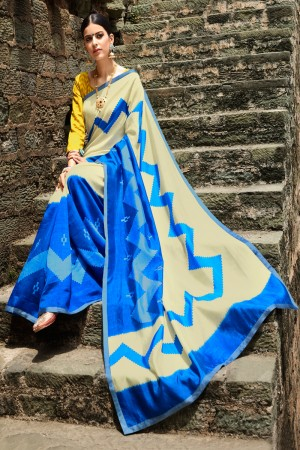 Blue&Offwhite Cotton Saree with Blouse
