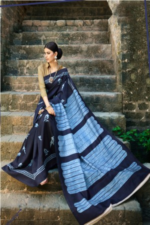 Denim Blue Cotton Saree with Blouse