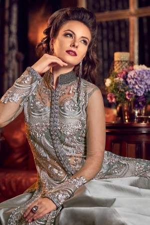 Grey Premium Net Salwar Kameez