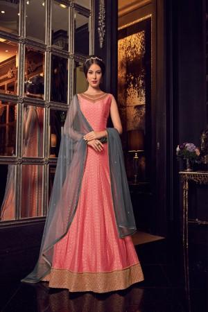 Peach & Grey Premium Net Gown