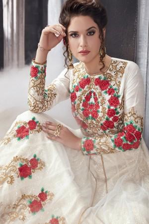 Eye catching White Net Thread & Zari Embroidery with Diamond Work  Anarkali Suit