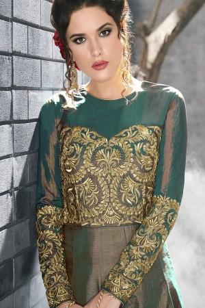 Tremendous Teal Green Silk Thread & Zari Embroidery with Diamond Work  Anarkali Suit