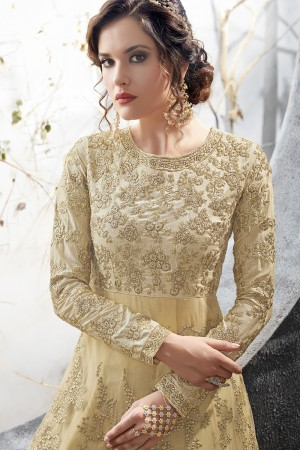 Elegant Cream Net Thread & Zari Embroidery with Diamond Work  Anarkali Suit