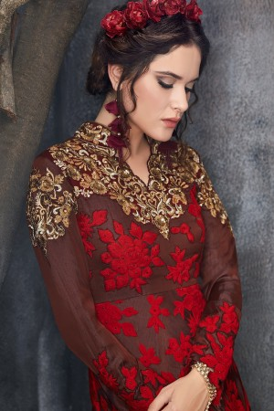 Outstanding Brown & Red Silk Thread & Zari Embroidery with Diamond Work  Anarkali Suit