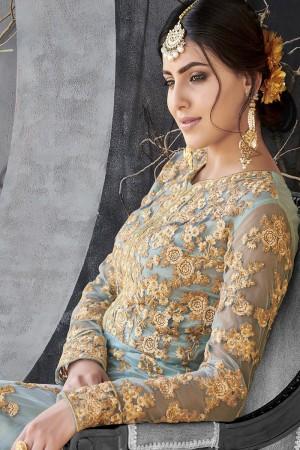 Delusive Grey Net Thread & Zari Embroidery with Diamond Work  Anarkali Suit