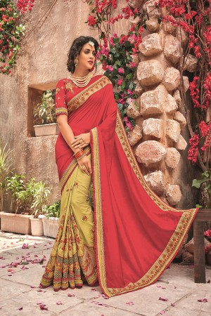 Red&Yellow Georgette & Chiffon Saree with Blouse
