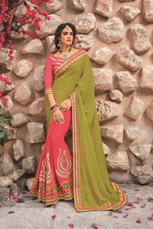 Mehendi&Pink Georgette & Chiffon Saree with Blouse