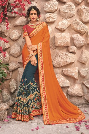 GoldenYellow&Grey Georgette & Chiffon Saree with Blouse