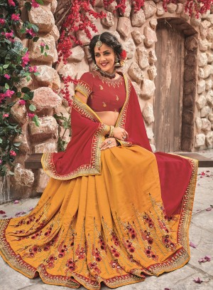 Maroon&Mustard Georgette & Chiffon Saree with Blouse