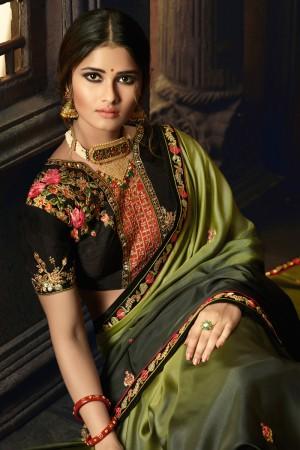 Mehendi Barfi Silk Saree with Blouse