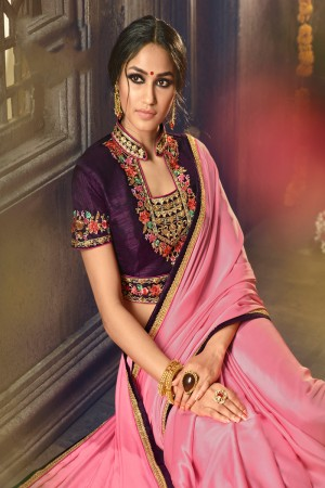 Pink Barfi Silk Saree with Blouse
