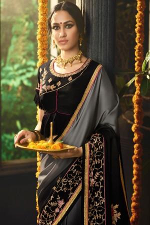 Grey&Black Rangoli Saree with Blouse