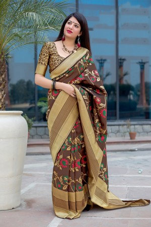Coffee Banarasi Silk Saree with Blouse
