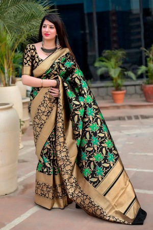 Black & green Banarasi Silk Saree with Blouse