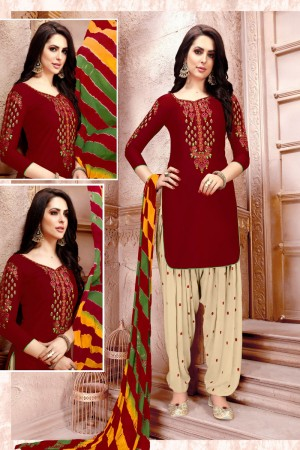 Marron Glaze Cotton Dress Material
