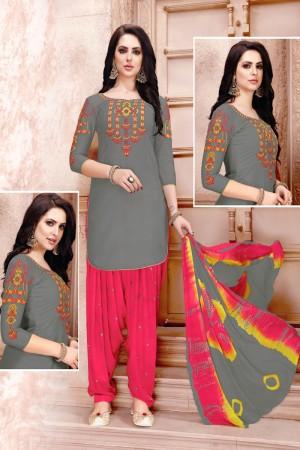 Beige  Glaze Cotton Dress Material