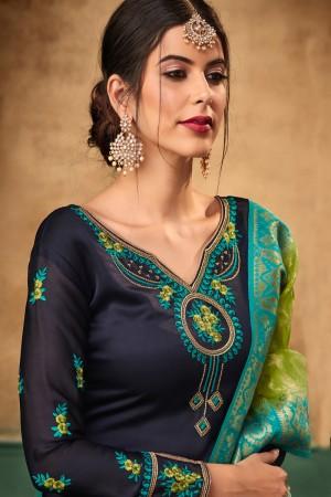 Dark Blue  Satin Georgette Salwar Kameez