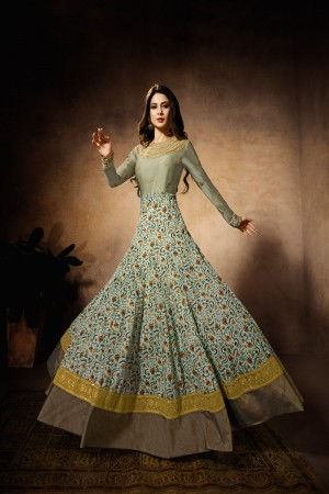 Light parrot green Silky Georgette, Satin Silk Digital Print, Thai Silk Anarkali Suit