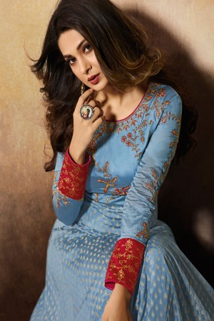Light carolina blue Slub Silk Anarkali Suit