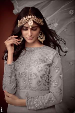 Grey Georgette Salwar Kameez