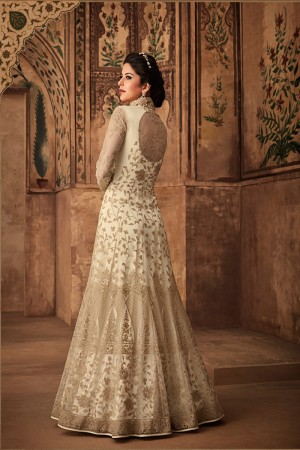 Offwhite Net Anarkali Suit