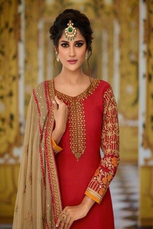 Red Georgette Semi Stitch Salwar Kameez
