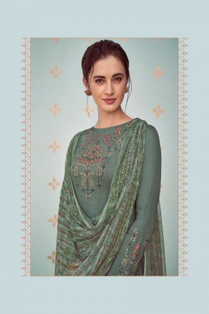 Grey Cotton Satin Salwar Kameez