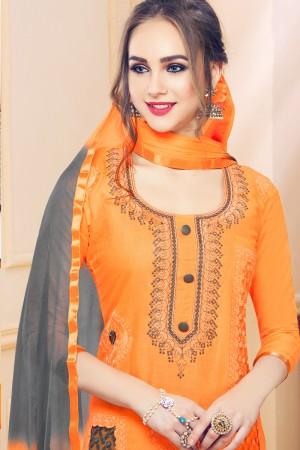 Mustard Cotton Dress Material