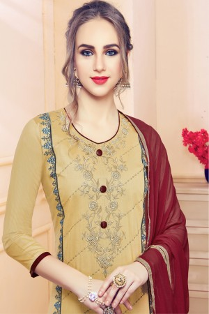 CreamYellow Cotton Dress Material