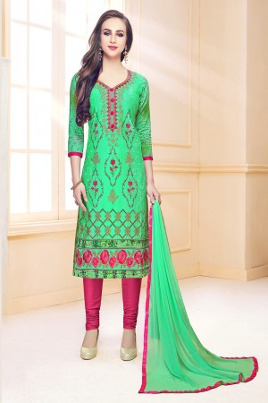 Light Green Cotton Dress Material