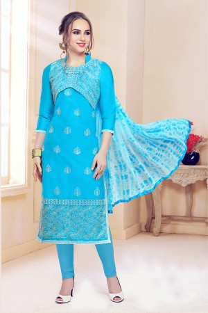 Sky Blue Cotton Dress Material