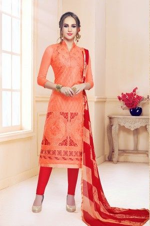 Orange Cotton Dress Material
