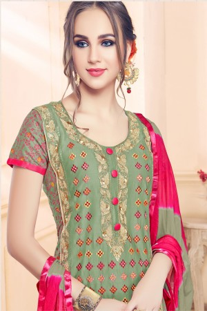 Mehendi Cotton Dress Material