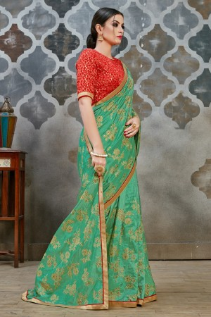 Sea Green Two Tone Silk Saree with Blouse
