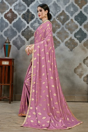 Pink Two Tone Silk Saree with Blouse