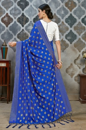 Royal Blue Two Tone Silk Saree with Blouse