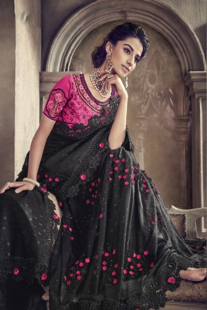 Black Imported Saree with Blouse
