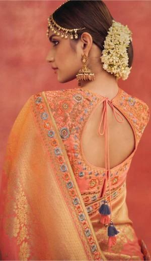 Grey&Orange Banarasi Lehenga Choli