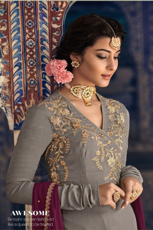Grey Rangoli Georgette Salwar Kameez