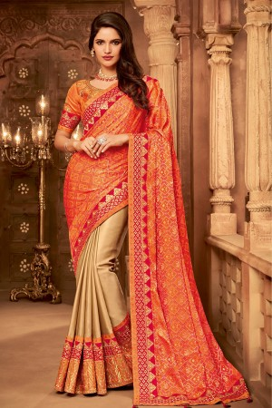 Orange&Chiku Satin Georgette Saree with Blouse