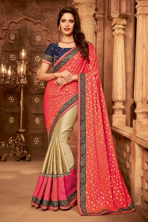 Peach & Chiku Satin Georgette Saree with Blouse