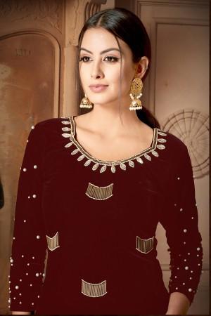 Maroon Velvet Salwar Kameez