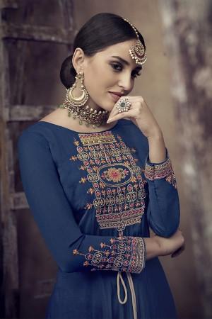 Blue Muslin Salwar Kameez