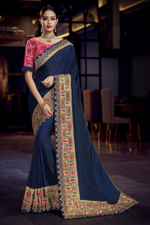 Blue Satin Georgette Saree with Blouse