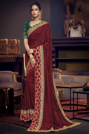 Maroon Satin Georgette Saree with Blouse