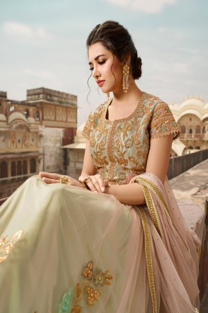 Peach & Light Green Net Salwar Kameez