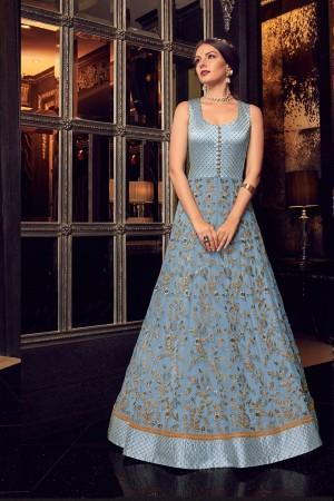Sky Blue & Navy Blue Handloom Tusser Silk & Net Salwar Kameez